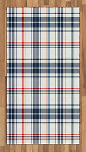 Classic Plaid Area Rug Decorative Flat Woven Accent Rug Home Decor 2 Sizes