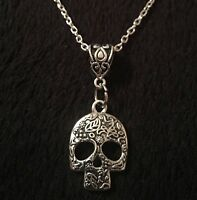 """Sugar Skull Necklace day of the dead *UK* silver CHAIN 18"""" Mexican Skull gothic"""