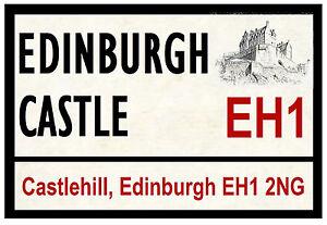 Edinburgh Schloss - Strasse / Straße Zeichen - Souvenir Neuheit Kühl- Magnet -