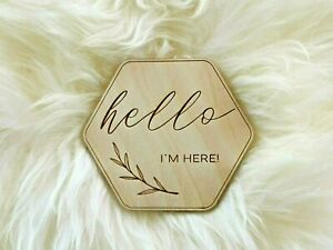 Wooden sign Baby birth announcement Baby shower gift Wooden Milestone Cards MC