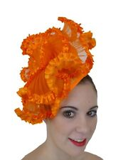 ORANGE FAN RUFFLE FRILL FASCINATOR HAT RACES WEDDING MILLINERY