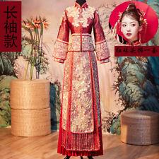 Chinese Women Red Bride Wedding Dresses Long Cheongsam Suit Evening Banquet Size