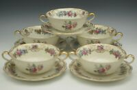ROYAL BAYREUTH NURENBERG SET OF 5 CREAM SOUP OR BOUILLON CUPS AND LINERS