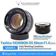 ⭐SERVICED⭐ YASHICA 50mm F1.4 Yashinon-DS M42+ Sony NEX Adapter + Caps [WORKING]