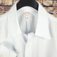 BROOKS BROTHERS Mens White Pin Striped Dress Shirt 16.5-33 Traditional Non Iron
