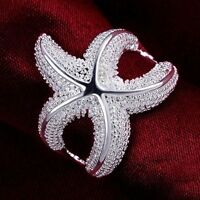 New Women Girls Party Pretty Silver Plated Wedding Gift Ring Jewelry Starfish
