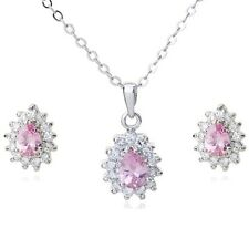 18K WHITE GOLD PLATED GENUINE PINK CUBIC ZIRCONIA NECKLACE AND EARRING SET