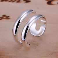 20Types 925 Silver Plated Adjustable Open Band Thumb Rings Ladies Statement Gift