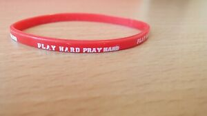"Red Thin Silicone Bracelet With Message "" Play hard Pray hard """