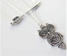 Women Girl Retro Sliver color Boho OWL bird Arrow Long Necklace Chain Pendant