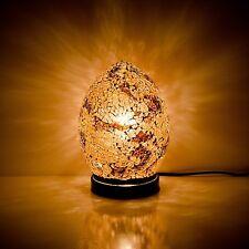 Fabuloso Mini Mosaico De Vidrio Craquelado Oro de otoño Huevo Lámpara De Mesa, escritorio, cabecera
