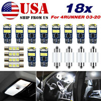 LED Light Kit Map Dome Interior Package 18pc White for Toyota 4Runner 2003-2020