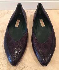 GUCCI Genuine Crocodile Alligator Purple Ballet Flat Shoes Italy New Vtg RARE!!!
