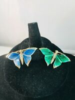 Lot of 2 Butterfly Gold Tone Metal Enamel Green & Blue Figural Brooch Pins