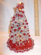 "NEW OOAK 8""LIGHTED SILVER DOLLHOUSE MINIATURE CHRISTMAS TREE MID-CENTURY MODERN*"