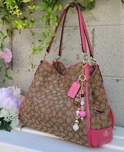 Coach signature phoebe dahlia PINK Leather shoulder hobo purse handbag 36424