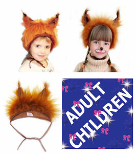Red Squirrel Animal Fancy Dress Hat Adults Kids Children Unisex Carnival Party