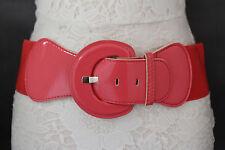 Women Fashion Belt Wide Coral Pink Elastic Hip High Waist Round Buckle M L XL