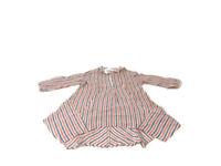 Anthropologie Shirt Isabella Sinclair Red Striped Tisket Popover Hanky Womens XS
