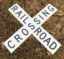"""Railroad Crossing Crossbuck Sign Genuine Full Size Aluminum 48"""" Reflective By 9"""""""