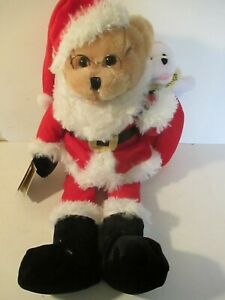 Chantilly Lane Santa Clause Plush Christmas Bear Animated Sings Up on the Houset