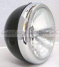 "Lucas British Style 6"" Black Motorcycle Headlight Assembly Triumph Cafe Racer"