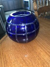 "Glass Candle Holder Cobalr Blue Globe Hurricane 5"" Tealight Pillar Candle"