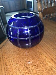 "Glass Candle Holder Cobalr Blue Globe Hurricane 5"" Tealight Pillar Candle"
