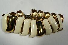 Vintage Monet Gold Tone Metal Enamel Signed link Bracelet