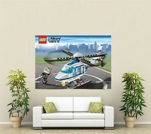 Lego City Airport Helicopter Giant 1 Piece  Wall Art Poster VG142