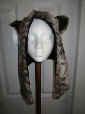 TIGER  PRINT  WINTER  HAT WITH  EARS BEANIE WINTER HAT COSPLAY  FAUX FUR