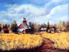 Old Country Church Autumn  O/E Print  ACEO by Vicki