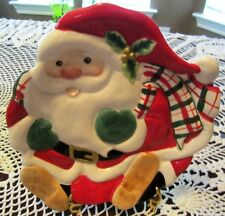 Fitz & Floyd Plaid Christmas Santa Canape Appetizer Snack Plate Colorful Fun