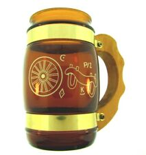 Vintage Siesta Ware Western Themed Glass Mug with Wooden Handle
