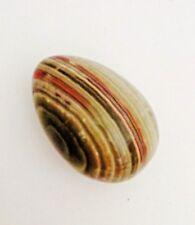 Vintage Carved Polished Stone Alabaster Marble Granite Egg Variegated Colors
