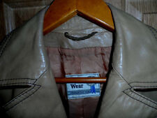 VINTAGE WOMENS PIONEER WEAR LEATHER JACKET -TAN- SIZE L