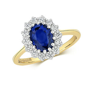 9ct Yellow Gold 1.80ctw Sapphire and Diamond Cluster Ring. Sizes J to Q (280)