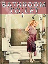 baño To Let , 102 Inodoro Cuarto De Baño Antiguo 30s 40s Medio Metal / hojalata