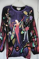 Kolorway USA Sweater Vtg handpainted Nightclub Singer Musicians Womens L/XL