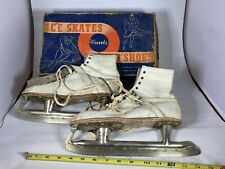 Vintage White Leather Ice Skates - Montgomery Ward - Original Box, Care Sheet