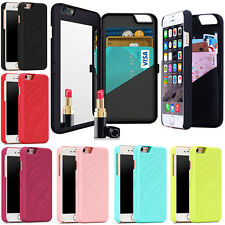 For Samsung Galaxy Apple iPhone 5 5S 6 6S 7 Plus Mirror Stand Wallet Cover Case