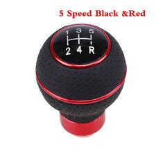 Aluminum+Leather Black 5 Speed Universal Manual Car Gear Stick Shift Knob Shifte
