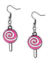 Fashion Earrings Christmas Candy Cane Lollipop Pink Swirl Dangle Enamel Silver