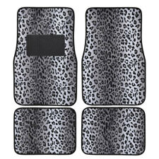 Gray Leopard Print Car Truck SUV Front Rear Premium Carpet Floor Mats 4pc Set