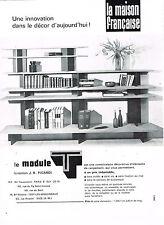 PUBLICITE ADVERTISING 045  1963  J.R PICARD le MODULE T  bibliothéque meubles