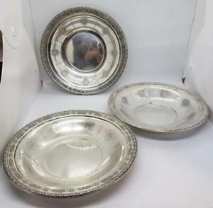 "Vintage Towle Sterling Louis XIV 8.5"" Salad Plate Set of 3 #48164 No mono"
