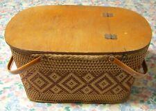 Vintage Large Woven Wicker Picnic Basket Redmon Peru Indiana USA
