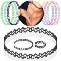Tattoo Kette Set Halskette Ring Armband Henna Choker Dehnen Elastisch Stretch