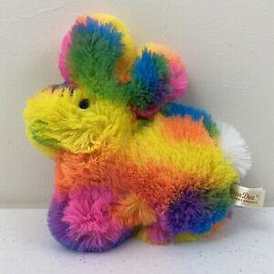 Dan Dee Rainbow Peep Plush Bunny Rabbit Shaggy Soft Stuffed Animal