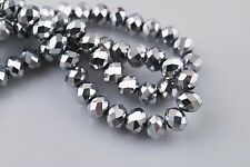 100pcs 3x2mm Silver Plated Loose Glass Crystal Rondelle Spacer Beads DIY Finding